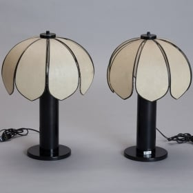 Pair French Floral Shaped Lamps With Black Bases