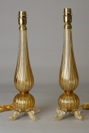 Pair of Murano Glass Lamps with Gold Inclusions