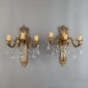 Pair of Large French Brass and Crystal Three Light Sconces