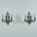 Pair Two Light Silver Gilt Sconces