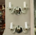 Pair of Murano Glass Two Light Mirrored Sconces
