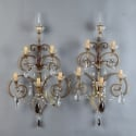 Pair French Five Light Brass and Crystal Sconces