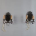 Pair French Pewter Mirror Back Sconces