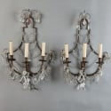Pair of French Three Light Crystal Sconces