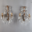 Pair Italian Two Light Gilt Metal and Crystal Sconces