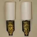 Pair French Bronze Figural Wall Sconces with Shades