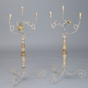 Pair Tall Three Light Italian Candelabra with Antique Elements