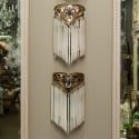 Pair of Art Nouveau Bronze and Crystal Sconces with Suspended Glass Rods