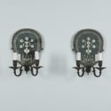 Pair Two Light Dark Bronze and Mirrored Sconces