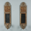 Pair of French Mirrored Sconces with Painted Puti