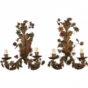 Pair Large French Painted Tole Two Light Sconces