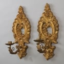 Carved French Gild Wood Sconces With Metal Bobeches