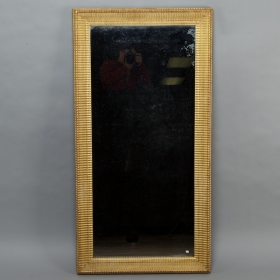 Tall 19th Century French Gilt Mirror With Fluted Edge