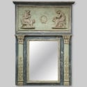 Large French Painted and Gilt Empire Style Trumeau Mirror