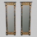 Pair Narrow Painted and Gilt Empire Style Mirrors