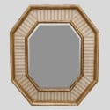 Italian Beveled Mirror with Eight Sided Gilded and Striped Frame