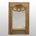French Pale Blue Mirror with Gilded Garland and Bow Detail
