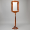 Mid Century Zebra Wood Double Sided Pedestal Base Floor Mirror