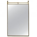 Mid Century Rectangular Mirror with Beaded Brass Frame