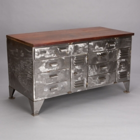 Mid Century French Polished Steel Chest of Drawers