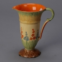 Myott Pottery Pitcher With Floral Detail and Orange Interior