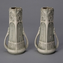 Pair Art Nouveau Style Green and Cream Ceramic Vases
