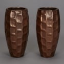 Pair Tall Fiberglass Vases With Bronze Overlay
