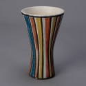 Roger Capron Striped Ceramic Vallauris Vase with Flared Neck