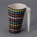 Roger Capron Vallauris Multi Color Grid Pattern Ceramic Pitcher