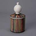 Roger Capron Vallauris Striped Ceramic Tall Covered Canister