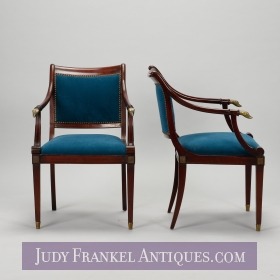 photo of sold item  Pair Wood Frame Directoire Chairs with Brass Hunting Dog Finials