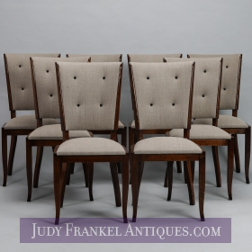 photo of sold item  Set Eight Tufted and Polished Mid Century Dining Chairs