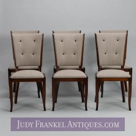 photo of sold item  Set Six Tufted and Polished Mid Century Dining Chairs