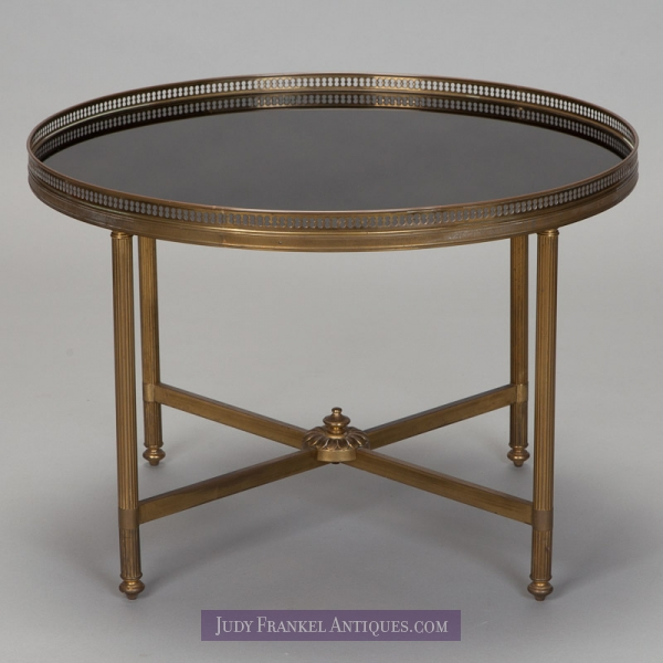 French round brass and black glass side table item 3765