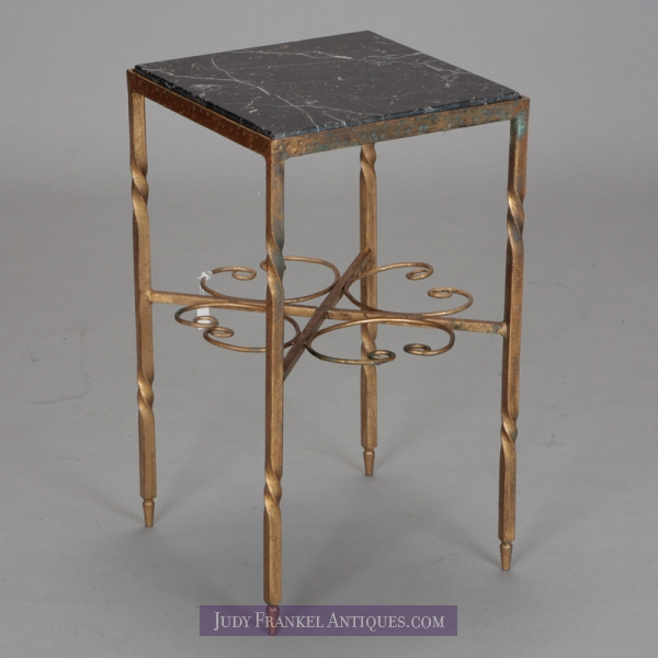 Photo of Italian Gilded Iron and Marble Square Side Table