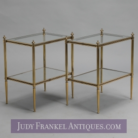photo of sold item  Pair Italian Fluted Brass, Glass and Mirror Side Tables