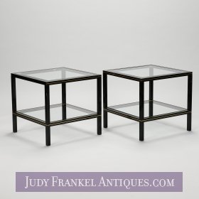 photo of sold item  Pair Pierre Vandel Black Lacquer with Brass Trim End Tables
