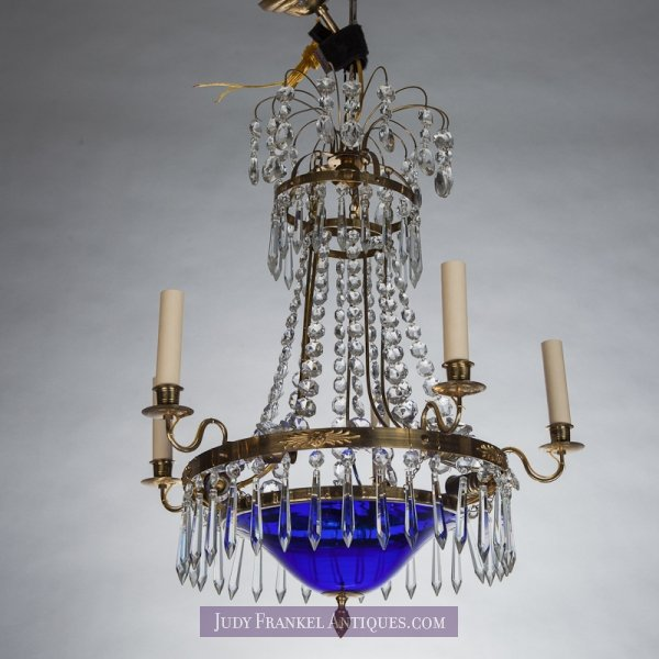 Photo of Swedish Five Light Chandelier With Cobalt Blue Bowl and Crystal Spears