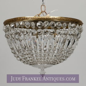 photo of sold item  Brass and Crystal Bead Flush Mount Fixture