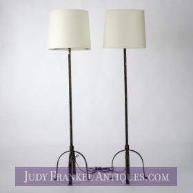 photo of sold item  Pair French Iron Floor Lamps with Shades