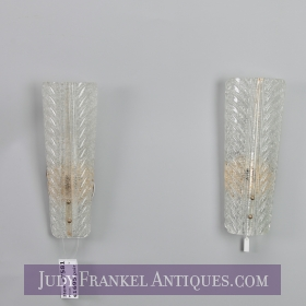 photo of sold item  Pair Tall Barovier and Toso Gold Dust Glass Wall Sconces
