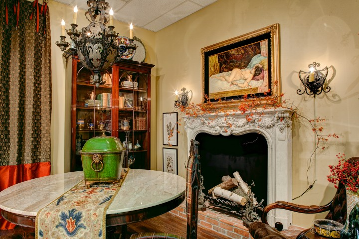 "Photo of ""Around the Hearth – An Autumnal Gathering"" designer vignette display at Judy Frankel Antiques"